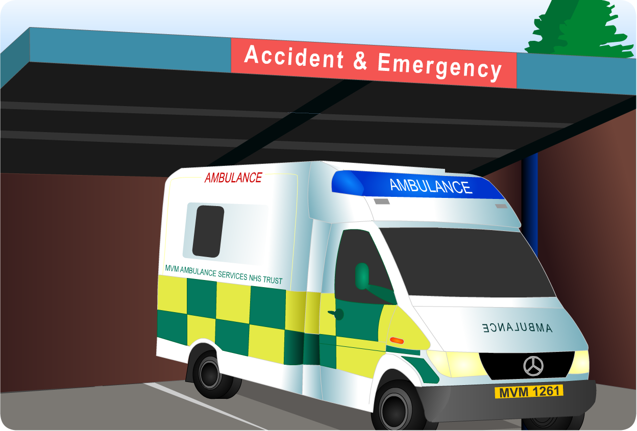 ambulance arriving at Accident & Emergency (hospital)