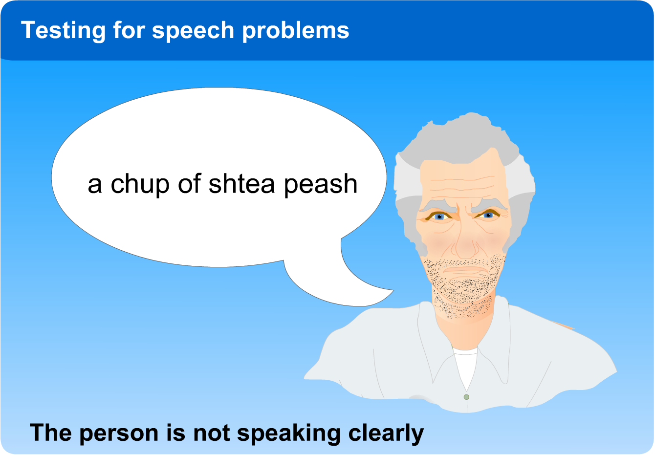 """A chup of shtea peash."" The person is not speaking clearly."